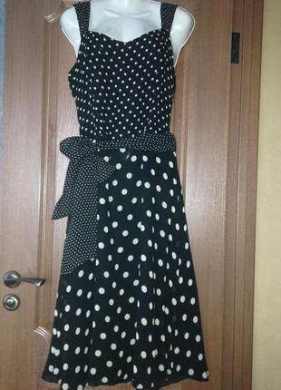 Коктельное вечернее черное платье в белый горох от next  р.l