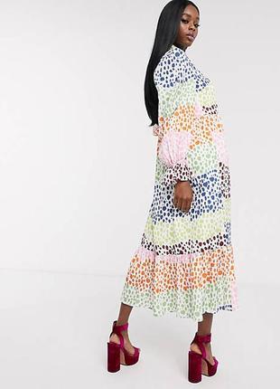 Платье макси а-силуэта в горошек с завязкой на шее и обьемными рукавами  never fully dressed