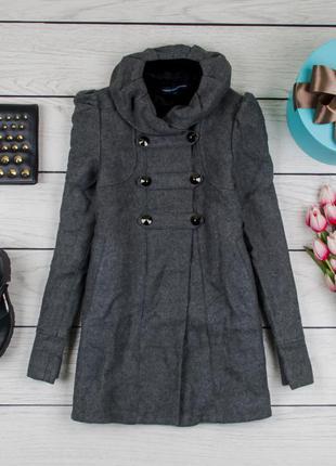 Пальто шерстяное серое от french connection размер uk 10 наш р. 44