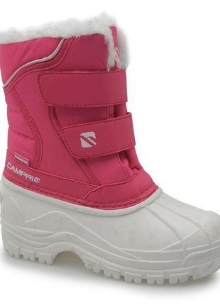 Розовый снеговые непромокаемые термо сапожки campri на меху
