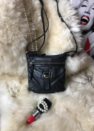 Практичная кожаная сумка кросс боди, натуральная кожа
