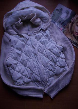 Теплая куртка на синтепоне с вязанным рукавом