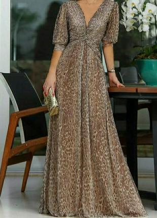Шикарное платье в пол,принт леопард, размер хс/с