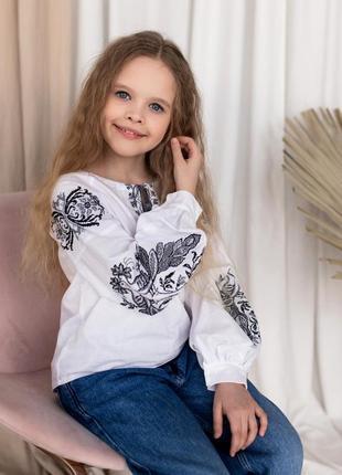 Блузка-вышиванка вышивка монохром 100% хлопок