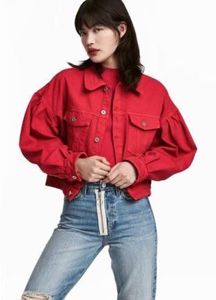 Джинсовый пиджак,джинсовая куртка с пышными рукавами
