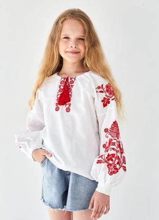 Этническая блуза вышиванка с красной вышивкой птицы 100% хлопок