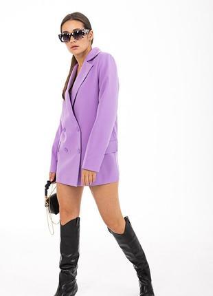 Сиреневый пиджак , блейзер 46 размера , длинный пиджак