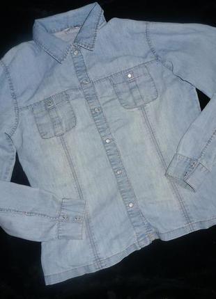 Стильная джинсовая рубашка harmony