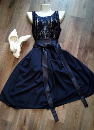 Синее платье выпускное вечернее классическое миди с фатином гипюр 46-48 размера. бренда fashion girl