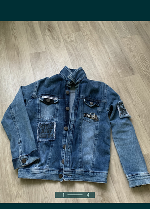Джинсовая крутая куртка пиджак для модника