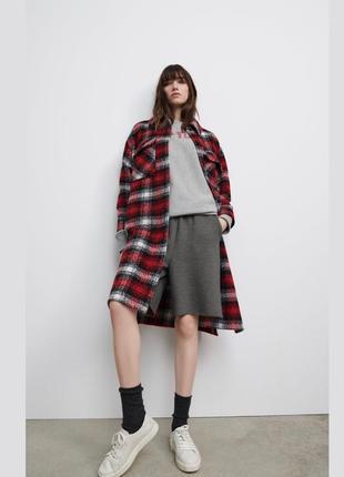 Пальто рубашка, удлиненная куртка рубашка zara