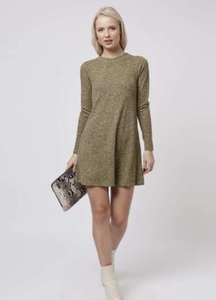 Теплое платье topshop в мелкий рубчик