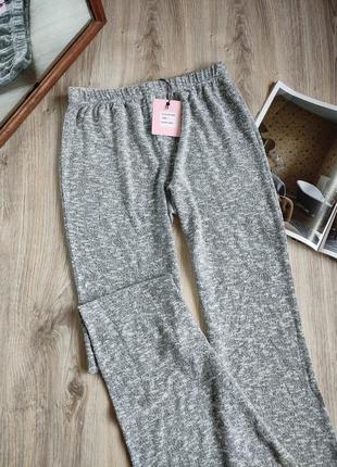 Штаны серые трикотажные клёш широкие брюки трикотажные брюки на резинке