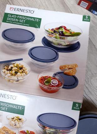 Набор стеклянной посуды с крышками ernesto