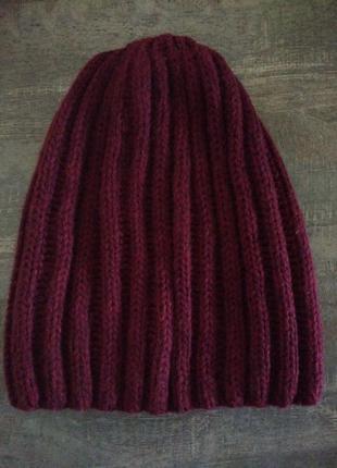 Бордовая шапка h&m