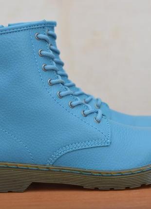 Женские кожаные голубые ботинки dr. martens, 37 размер. оригинал