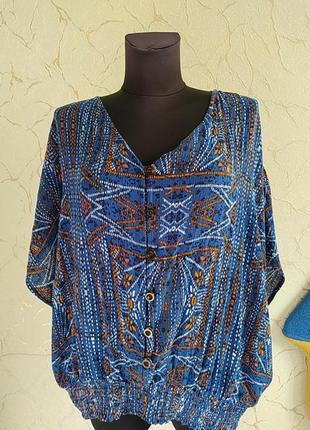 Натуральная блузка топ блузон в стиле бохо f&f