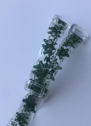 Силиконовые бретельки для бюстгальтера  с пластиковой фурнитурой и зеленым узором шириной 1,2 см