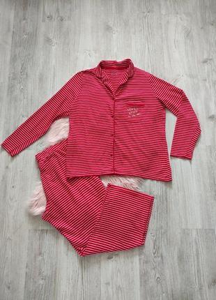 Трикотажная хлопоковая пижама домашний костюм красный в полоску