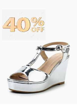 Стильні босоніжки металік asos. супер знижка -40%