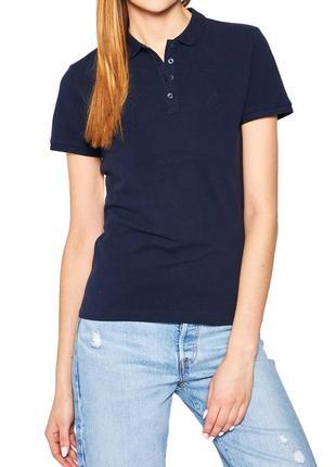 Базовое темно синее женское поло fruit of the loom/базовая футболка поло цвет синий/топ