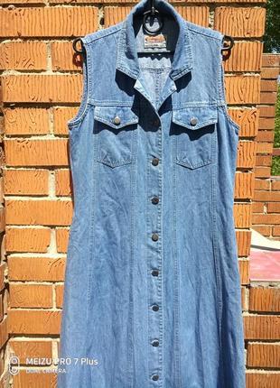 Стильный сарафан, платье халат в пол, длинный джинсовый сарафан lady anthony