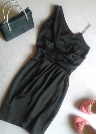 Вечернее шифоновое чёрное платье