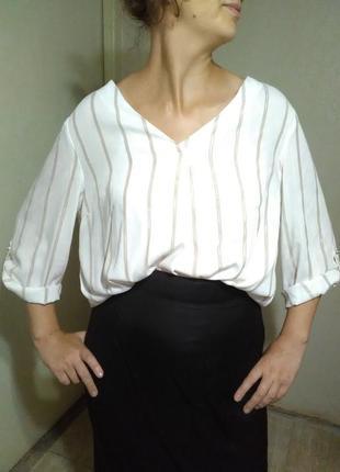 Рубашка блузка блуза оверсайз белая рубаха распешенка полоска бежевая легкая воздушная пляж пляжная  офис