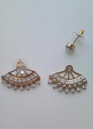 Серьги джекеты с кристаллами