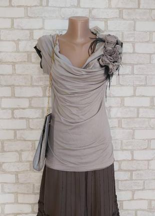 Новая с биркой вискозная нарядная блуза/футболка с украшением в сером цвете, размер м-ка