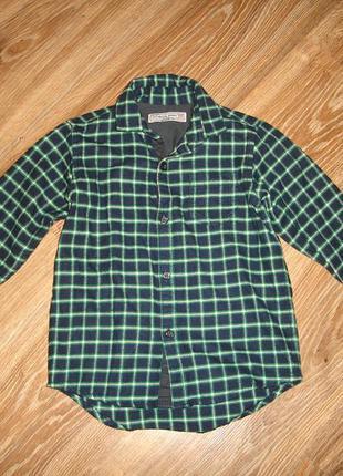 Теплая байковая рубашка некст на 4 года, 100% коттон, сделана в бангладеш