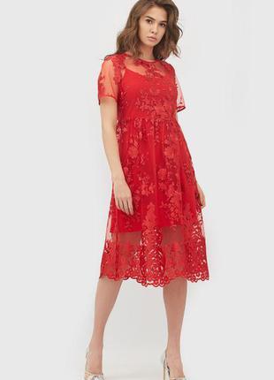 Платье пышное миди кружево сетка красное яркое
