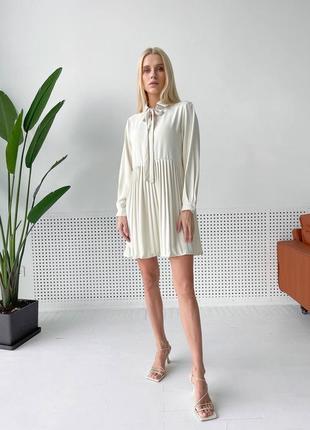 Платье-рубашка из креп-шифона с юбкой плиссе🤩