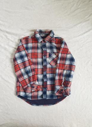 Фланелевая рубашка на  подкладке для мальчика 3-4