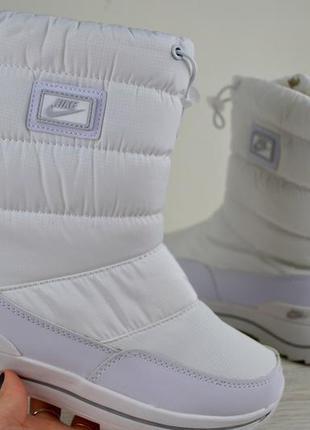 Классные зимние ботики nike белого цвета 36,37,38,39,40,41 рр.
