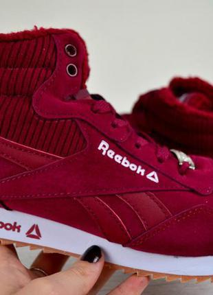 Яркие зимние кроссовки reebok красного цвета 38,39,41 рр.