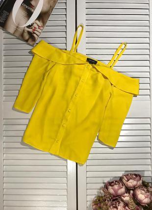 🌿 яркая блузка с открытыми плечами от new look