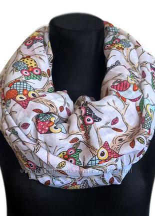 Миленький шарф-хомут из совушками