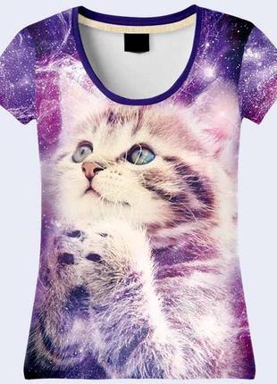 Милая 3d футболка котик космос