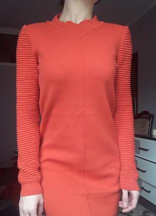 Теплое платье огненный оранжевый байка