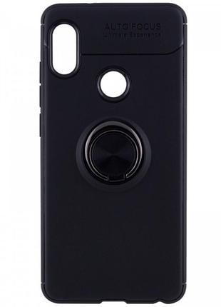 Tpu чехол deen colorring под магнитный держатель для xiaomi redmi note 6 pro (черный / черный)