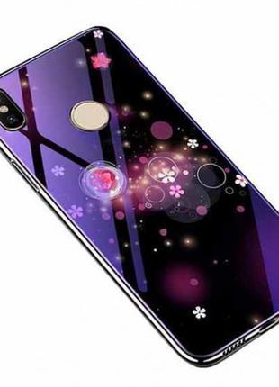 Tpu+glass чехол fantasy с глянцевыми торцами для xiaomi redmi note 6 pro (пузырьки и цветы)