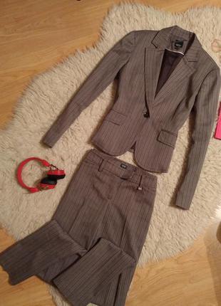 Костюм офисный деловой esprit в полоску пиджак