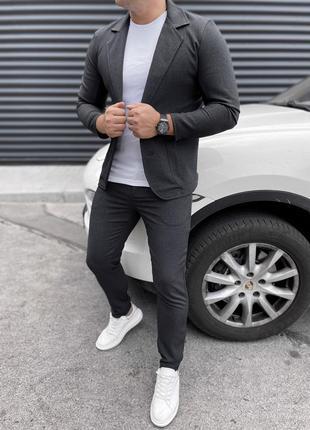 Костюм пиджак брюки под кеды мокасины стильный серый