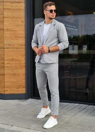 Костюм мужской брюки пиджак светло серый стильный модный молодежный
