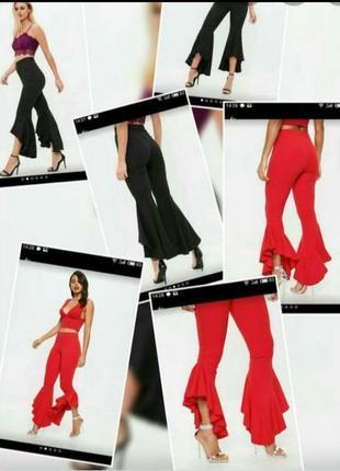 Леггинсы с воланом boohoo штаны эффектные чёрные брюки с расклешенным низом рюши по штанине супер летняя осенняя цена распродажа женская лот