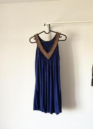 Довга туніка/ коротка сукня / сарафан з декором з дерева