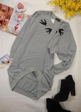 Платье -  удлиненный свитшот трикотажное серое с принтом