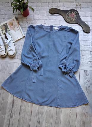 Джинсовое платье мини трапеция из лиоцела от zara