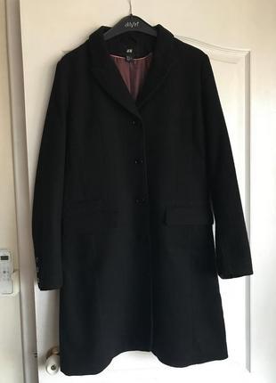 Классические черное пальто бойфренд / длинное пальто h&m